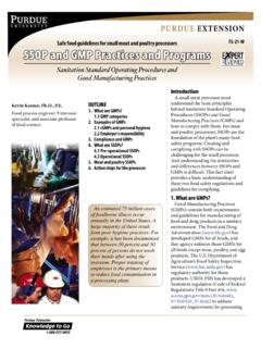 SSOP and GMP Practices and Programs - Sanitation …