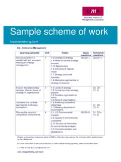Sample Scheme of Work - CIMA