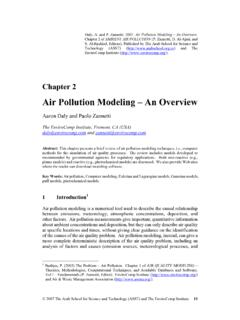 Air Pollution Modeling – An Overview