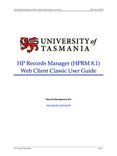 HP Records Manager (HPRM 8.1) Web Client Classic User Guide