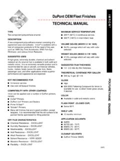 DuPont OEM/Fleet Finishes TECHNICAL MANUAL