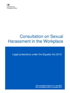 Consultation on Sexual Harassment in the Workplace