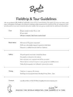 Fieldtrip & Tour Guidelines - Byrd Cookie