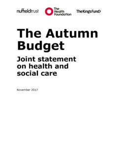 The Autumn Budget - The King's Fund