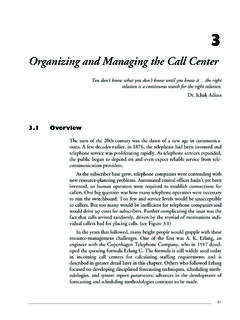 Organizing and Managing the Call Center