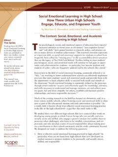 Social Emotional Learning in High School: How …