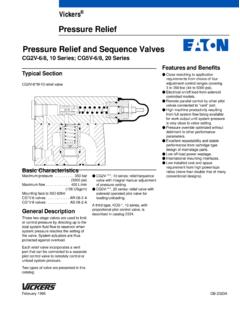 Pressure Relief Pressure Relief and Sequence Valves - Eaton