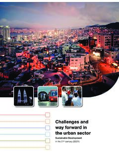 Challenges and way forward in the urban sector