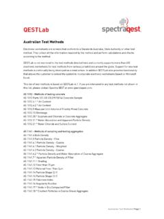 Australian Test Methods - Spectra QEST