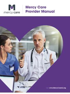 Mercy Care Provider Manual