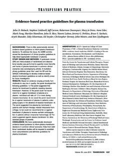 Evidence based practice guidelines for plasma transfusion