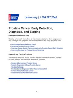 Prostate Cancer Early Detection, Diagnosis, and Staging