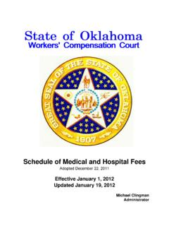 Schedule of Medical and Hospital Fees - Oklahoma