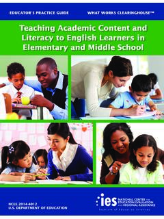 Teaching Academic Content and Literacy to English Learners ...