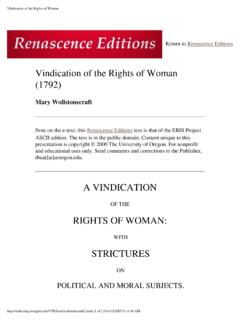 Vindication of the Rights of Woman - Scholars' Bank Home