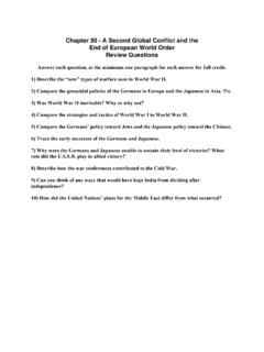 Chapter 30 questions - AP World History