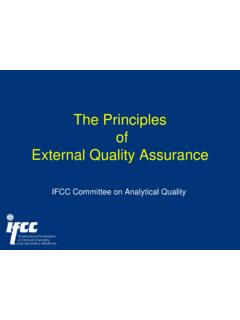 The Principles of External Quality Assurance - IFCC