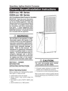Downflow, Upflow Electric Furnaces Owners Manual ...