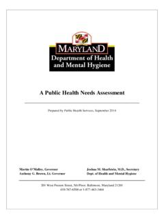 A Public Health Needs Assessment - Maryland