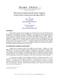 HIPAA Issues for Biotech and Life Science Companies: On ...