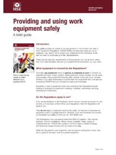 Providing and using work equipment safely - hse.gov.uk