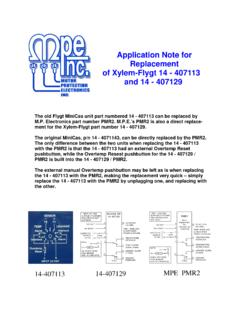 Application Note for Replacement of Xylem-Flygt 14 - 407113