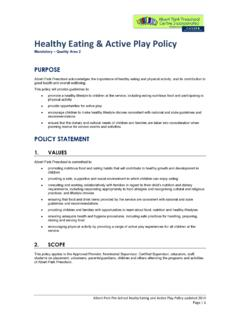 Healthy Eating & Active Play Policy - Albert Park Kinder