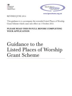 Guidance to the Listed Places of Worship Grant …