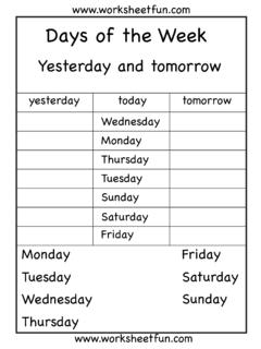 Days Of The Week And Months Of The Year Week Pdf4pro