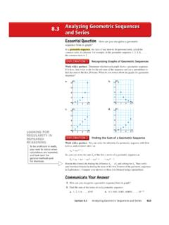 8.3 Analyzing Geometric Sequences and Series