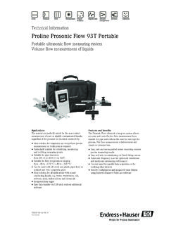 Technical Information, Proline Prosonic Flow 93T Portable
