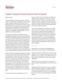 Hazard Analysis Critical Control Point Program - Almond