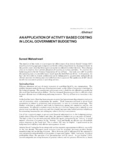 AN APPLICATION OF ACTIVITY BASED COSTING IN LOCAL ...