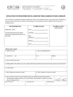 APPLICATION FOR REGISTERED DENTAL ASSISTANT (RDA ...