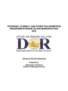 VETERANS', ELDERLY, AND OTHER TAX EXEMPTION …