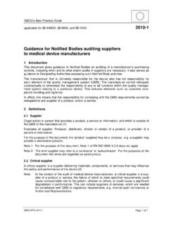 Guidance for Notified Bodies auditing suppliers to medical ...