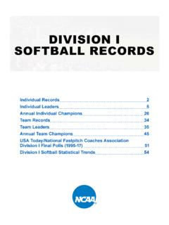 DIVISION I SOFTBALL RECORDS - fs.ncaa.org