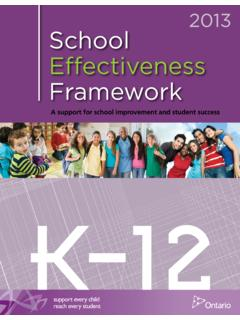 2013 School Effectiveness Framework - Ontario