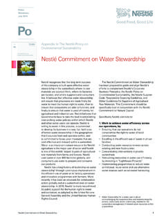 The Nestlé Policy on Nestlé Commitment on Water …