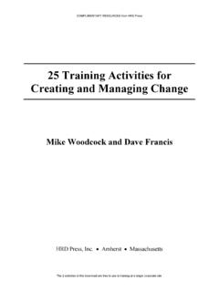 25 Training Activities for Creating and Managing Change