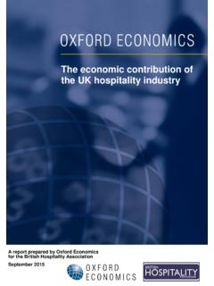 The economic contribution of the UK hospitality industry