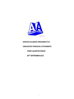 AFRICAN ALLIANCE INSURANCE PLC UNAUDITED …