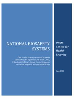 NATIONAL BIOSAFETY UPMC SYSTEMS Center for …