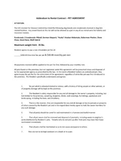 Addendum to Rental Contract – PET AGREEMENT