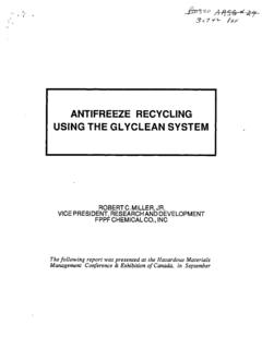 Antifreeze Recycling Using The Glyclean System - InfoHouse