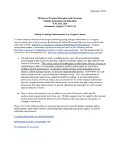Division of Teacher Education and Licensure …