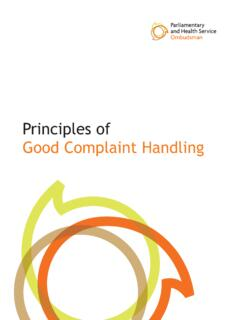 Principles of Good Complaint Handling - Welcome to the ...