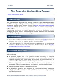 First Generation Matching Grant Program - OSFA …