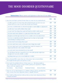 THE MOOD DISORDER QUESTIONNAIRE