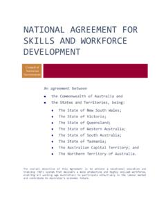 NATIONAL AGREEMENT FOR SKILLS AND WORKFORCE …